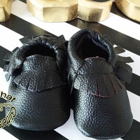 Black Leather Baby Moccasins - 100% Genuine Leather Black Soft Sole Fringed Baby Moccasin Shoes Sizes 0 to 24 months