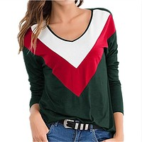 fhotwinter19 new color matching casual round neck long sleeve women's top