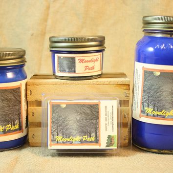 Moonlight Path Candle and Wax Melts, Women Perfume Scent Candle, Highly Scented Candles and Wax Tarts, Gift for Her, Mason Jar Candles