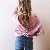 V neck beading pearl knitted sweater women Casual loose pullover Ruched backless bow soft jumper pull femme