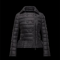 Moncler BIBER Double-Breasted Classic Neckline Black Jackets Nylon Womens 41467469GC