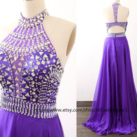 Purple Long Prom Dress, Crystal Straps Chiffon Prom Gown, Formal Gown, Long Chiffon Grape Formal Dresses, Wedding Party Dress