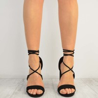 Black Suede Round Block High Heel Lace Up Barely There Sandals - Adrina