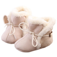 Baby Winter Ankle Strap Snow Boots Warm Soft Sole Coral Fleece Shoes for Newborn Toddlers Kids Boys Girls