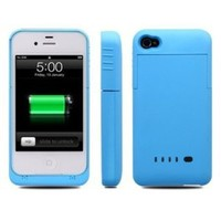 Greenery BXT Colourful Slim External Rechargeable Backup Battery Charger Charging Case Cover for iPhone 4 4s (2000mAh) (BLUE)