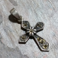 Vintage Sterling Silver Cross Pendant Religious Jewelry Silver Medal Christian Catholic Cross Crucifix Petite Embellished with Marcasites