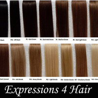 """Eight 2"""" Pink Ombre Hair Extensions, 20-22"""" Human Hair Extensions, Hair Clip, Hair Wefts, Clip in Hair, dip dyed hair"""