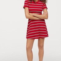 Patterned Jersey Dress - Red/striped - | H&M US