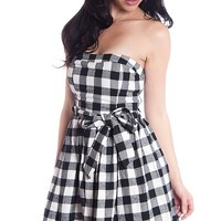 Miss Avenue Gingham Plaid Strapless Skater Dress With Tie Front - Black