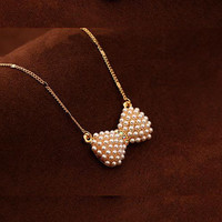 New Design Fashion High Quality Double Pearl Bow Pendant Necklace Statement jewelry for women