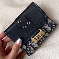 Dior New fashion more letter leather wallet purse women handbag Black