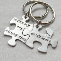 Personalized mens keychains, couples keychains, couples keyrings, personalized gift for couples, personalized jewelry, his hers puzzle piece