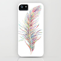 Rainbow Feather  iPhone & iPod Case by Jo Woolley
