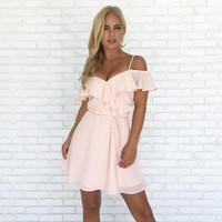 Soft Kiss Wrap Dress in Pale Pink