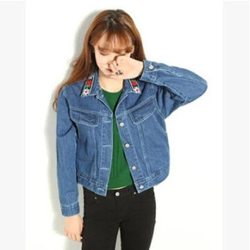 2016 Vintage Washed Long Sleeve Embroidery Jaqueta Jeans Feminina Authentic Trucker Denim Jacket For Women Chaquetas Mujer