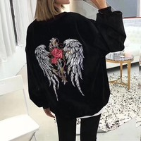 """Givenchy"" Women Fashion Personality Rose Flower Wing Pattern Embroidery Velvet Round Neck Long Sleeve Sweater Tops"