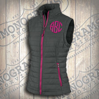 Monogrammed Quilted Grey w/ Pink Trim Vest  Font shown NATURAL CIRCLE in bright pink