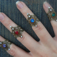Crystal midi ring CHOOSE ONE armor ring knuckle ring nail ring claw ring  tip ring  vampire goth victorian moon goddess pagan boho gypsy