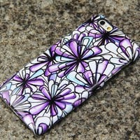 Purple Flowers iPhone XR 6 Case Floral iPhone XS Max plus Case iPhone 8 SE Samsung Galaxy S8 S6  S3 Note 2 Note 3 Case 020