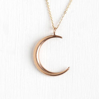 Antique 10k Rose Gold Crescent Moon Pendant Necklace - Vintage Early 1900s Art Nouveau Edwardian Fine Conversion Jewelry