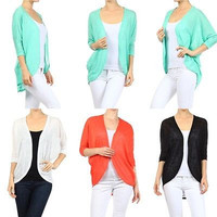 Women Knitted Dolman Sleeve Hi-Low Asym Hem Open Front Light Cardigan