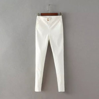 Strechable High-Waisted Button Pants