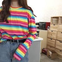 Colorful Rainbow Stripe Long Sleeve T-Shirt