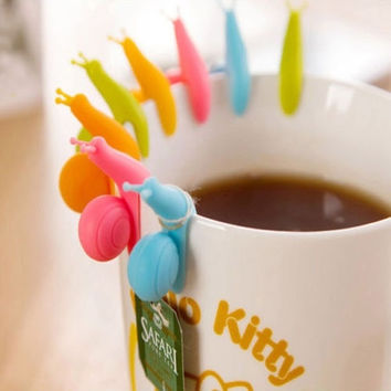 5x High Quality Funny Cute Snail Shape Silicone Tea Bag Holder Candy Colors = 1958540164