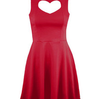 Dress Ladies Heart Cut Out Front Skater Sexy Mini Party Womens Top Size 4-10