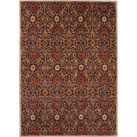 Poeme Coll. Hand-Tufted Arts & Craft Pattern Wool Brown/Yellow Calais Area Rug (2 x 3)