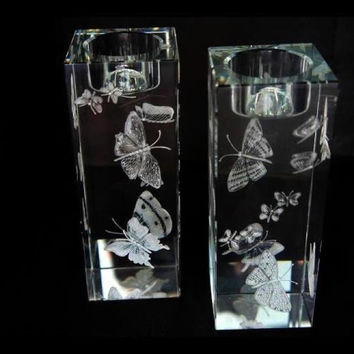 Hand Engraved Butterfly Candle Holders