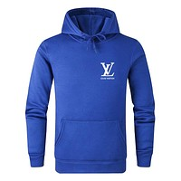 LV 2019 new letter printing men and women models wild casual hooded sweater Blue