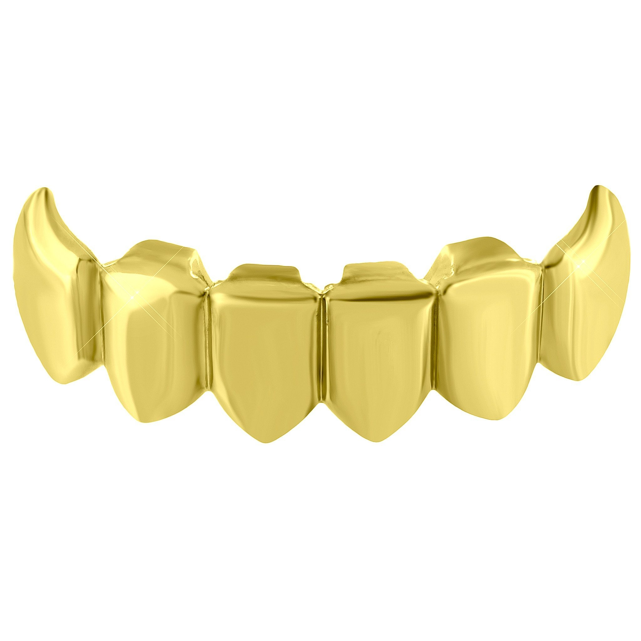 Image of Bottom Teeth Grillz Top Mouth Caps Yellow Gold Tone Hip Hop
