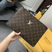 LV Louis Vuitton Women's Classic Logo Printed Clutch Toiletry Bag Cosmetic Bag