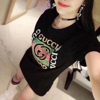 """Gucci"" Women Fashion Beaded Embroidery Letter Pattern Short Sleeve Casual T-shirt Top Tee"