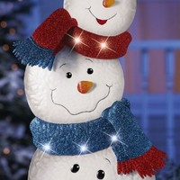 "KNLstore 34""h LED Lighted Stacked Snowman Jack Frost Metal Tin Snowmen w/ Hat Blue Red Scarf White Lights Christmas Holiday Garden Stake Outdoor Yard Snow Man Decoration"