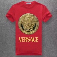 Versace Woman Men Fashion Casual Letter Print Shirt Top Tee