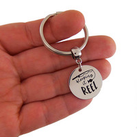 Keepin it reel keychain, fathers day gifts, gift for dad, grandpa gifts, grandfather key chain, fisherman gift, retirement gifts for men