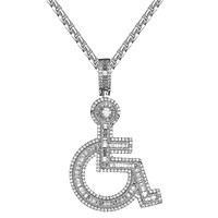Baguette Handicap Sign Wheelchair Emoji Bling Pendant