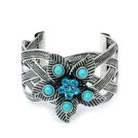 Floral Cuff Bracelet w/ Turquoise Stones and Rhinestones - Blue Rhinestones Color: Blue Rhinestones