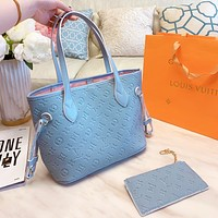 Louis Vuitton Lv Bag Louis Vuitton Bag shopping bag dark flower shopping bag embossing shoulder bag two piece Grey