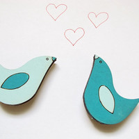 Magnets- Set of 2 wooden love birds magnets- aqua and turquoise -funny valentine magnets for children/teens/adults/ hostess gift