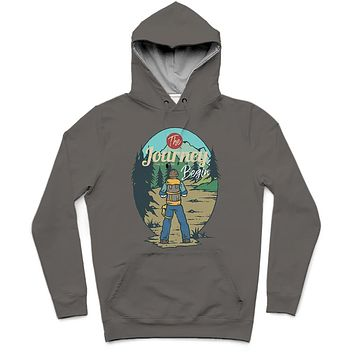 The Journey II Trendy All-Over Print Solid Tundora Hoodie