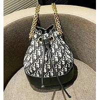 D DIOR New fashion more letter leather shoulder bag bucket bag women
