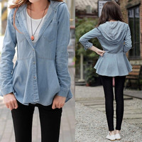 New Arrival Lady Women Girl Blue Hooded Outerwear Jacket Jean Shirt Blouse  SV006994
