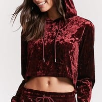 Hooded Velvet Cropped Pullover