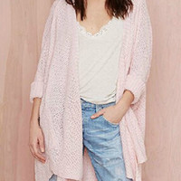 Light Pink Collarless Long Sleeve Cardigan