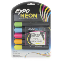 Expo Neon Dry Erase Markers For Black or White Dry Ease Boards Pack of 5
