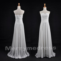 White Ruffled Sweetheart Strapless Long Bridesmaid Celebrity Dress, Floor length Chiffon Formal Evening Party Prom Dress Homecoming Dress