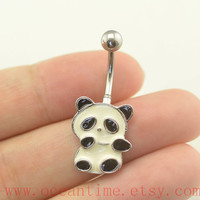 belly ring,panda Belly Button Rings,panda belly button jewelry,Navel Jewelry,friendship bellyring,oceantime